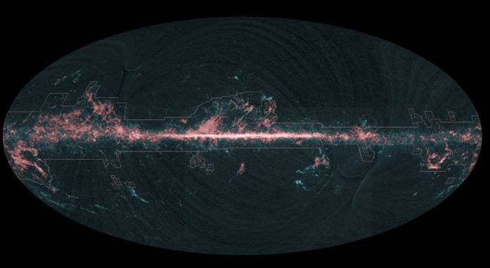 Карта угарного газа, полученная телескопом «Планк». Фото ESA/Planck