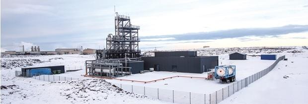 Этот завод в Исландии превращает двуокись углерода в синтез-газ и в конечном итоге в Метанол топливо