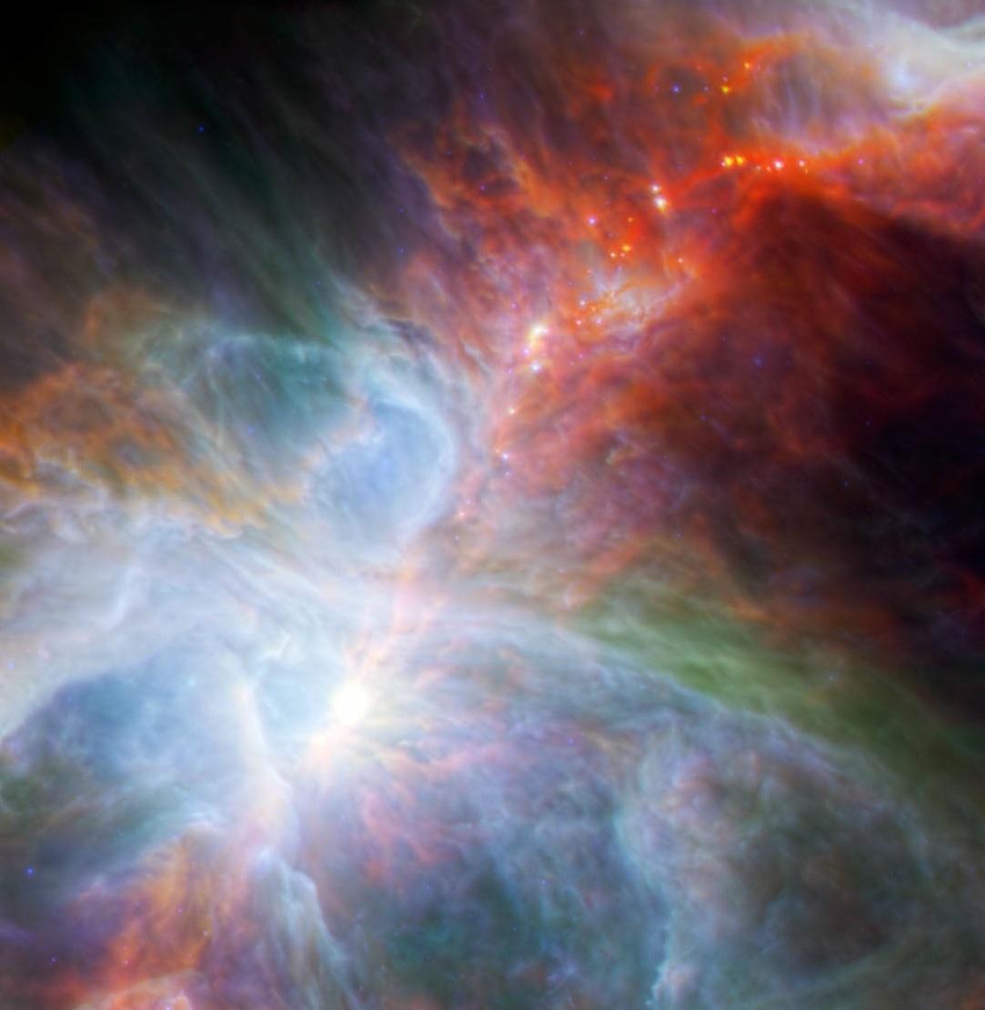 Молодые звезды, мерцающие в туманности Орион. Фото: esa.int