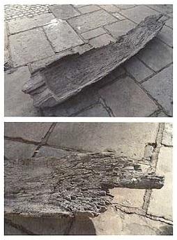 Фрагменты долблёной лодки